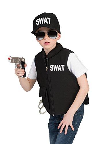 Kostüm Fbi Für Jungen (Kostüm Weste SWAT Kind Größe 164 Kinderkostüm Jungen Polizist Polizei FBI Berufe Schwarz Karneval Fasching)