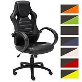 CLP Sedia da ufficio racing SPEED in similpelle, poltrona da ufficio oscillante, sedia per scrivania regolabile in altezza (49 - 59 cm) e girevole | sedia gaming per lo studio nero