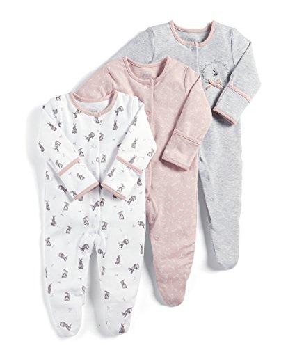 Mamas & Papas Baby-Mädchen Strampler 3 Pack Bright Flower Sleepsuits, 3, Pink (Pink S79FGA4), Neugeboren