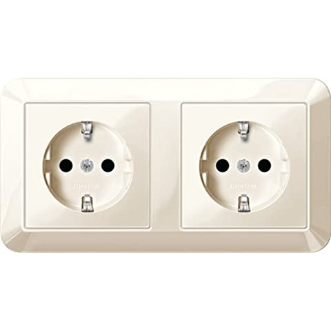 Merten MEG23281044Shuko Dual Double Plug Socket, Brs, Plug-In Terminals, White Glossy, 1-m