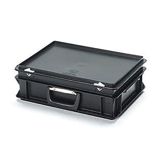 utz ESD-Kunststoffkoffer - Inhalt 10 l, Außenmaß LxBxH 400 x 300 x 130 mm, ab 1 Stück - Mehrzweckkoffer Sortimentskoffer Mehrwegbehälter Mehrzweckkoffer Sortimentskoffer Mehrwegbehälter