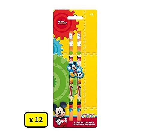 Partylandia Shop Box 12 Set mit 2 Bleistiften Micky Maus mit Gummi, Mehrfarbig, AST1126
