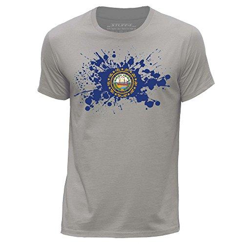 STUFF4 Uomo/Medio (M)/Grigio Chiaro/Girocollo T-Shirt/USA Stato/New Hampshire Bandiera Splat