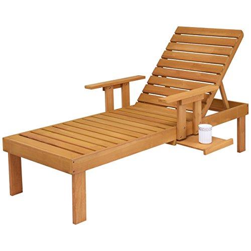 COSTWAY Sonnenliege Gartenliege Liegestuhl Relaxliege Strandliege Poolliege Holzliege Gartenmöbel Garten Liege verstellbare Rückenlehne Holz