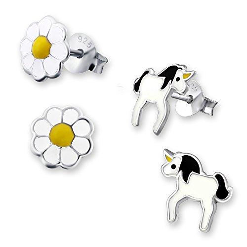 Laimons Orecchini per bambine con unicorno bianco giallo in argento Sterling 925 rosa