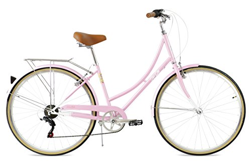 FabricBike Step City Damenfahrrad Amsterdam 28 Zoll Komfort Bike 7 Gang Hollandrad im Retro-Design (Candy Pink)