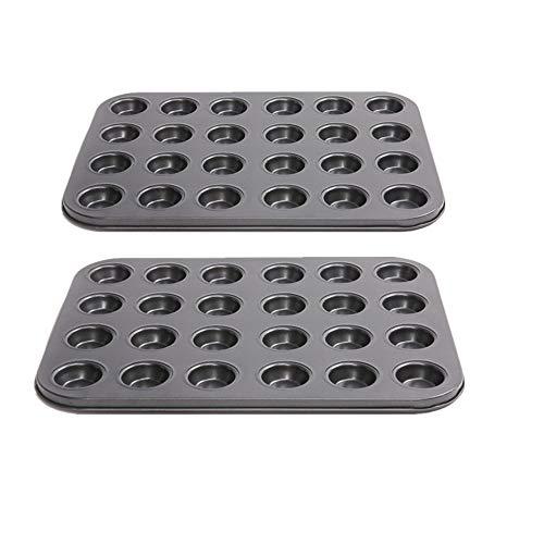YUSDP Set mit 2 24 Cupcake-Backformen aus Karbonstahl mit Antihaftbeschichtung und Schnellverschluss-Beschichtung, perfekte Ergebnisse für die Herstellung von Eierkuchen -