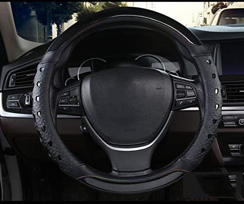 ZJWZ Capot De Volant De Voiture pour Le Volant De Diamètre: 37-39 Cm (14,5-15,3 inch) Roues De Direction Adaptées pour La Petite Voiture/SUV Etc,Black