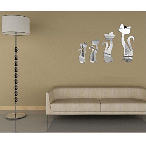Sharplace 4pcs Katzen Spiegel Wand Aufkleber, Wandsticker DIY für Deko Wohnzimmer Kinderzimmer Wanddeko Haus Dekoration