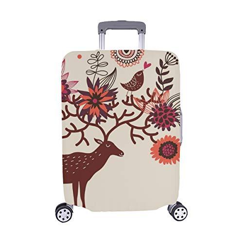 (Nur abdecken) C Artoon Deer Blumenmuster-Staubschutz Trolley Protector case-Koffer Reisegepäck-Schutzkoffer-Abdeckung 28,5 X 20,5 Zoll (Artoon C)