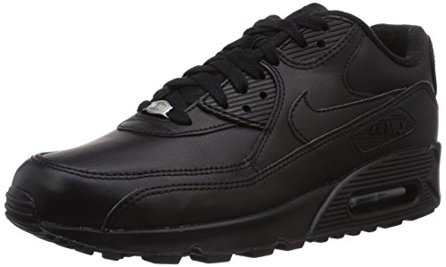 Nike Air Max 90 Leather, Baskets mode homme, Noir (Black/Black 001), 44 EU