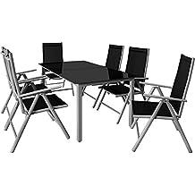 Deuba® 6+1 Sitzgruppe Alu Sitzgarnitur Gartenmöbel Gartenset Essgruppe Gartengarnitur Klappstuhl ✔6 verstellbare Stühle ✔Tisch höhenverstellbar ✔wetterfest Drinnen & Draußen ✔Modellauswahl