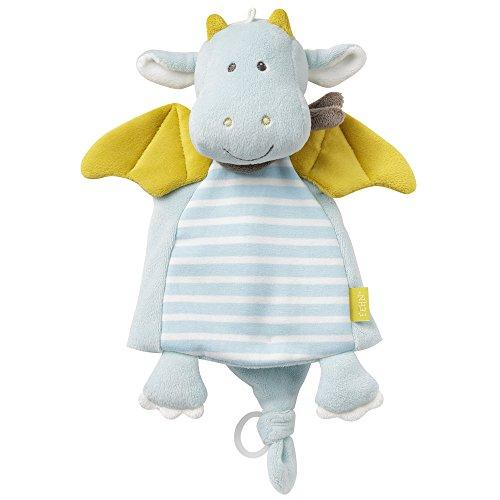 Fehn 065077 Schmusetuch Drache Deluxe/ Stofftier-Schnuffeltuch mit Befestigungsring für Schnuller zum Greifen, Fühlen und Liebhaben für Babys und Kleinkinder ab 0+ Monaten