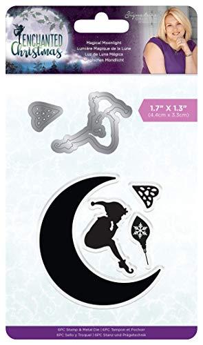 Crafter's Companion Sara Signature Enchanted Christmas - Magischer Mondschein Stempel und Stanzformen Set - 4,4 cm x 3,3 cm, mehrfarbig, Einheitsgröße