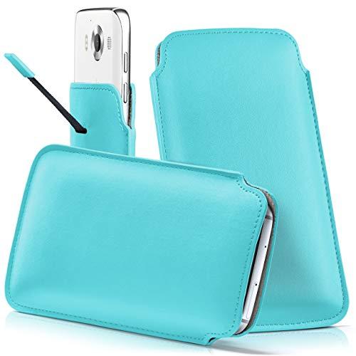moex Nokia 230 | Hülle Türkis Sleeve Slide Cover Ultra-Slim Schutzhülle Dünn Handyhülle für Nokia 230 Case Full Body Handytasche Kunst-Leder Tasche