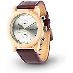 LAiMER Chronograph Holzuhr Mod. Peter | 100% Ahornholz | Rindslederband | Naturprodukt | Südtirol | federleicht | allergikerfreundlich | nachhaltig | angenehmer Tragekomfort |