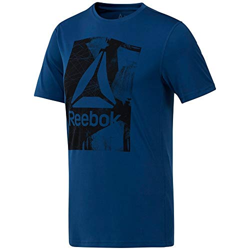 new product f3123 1a215 Reebok Wor Tech Graphi Camiseta, Hombre, Azul (Bunker Blue), M