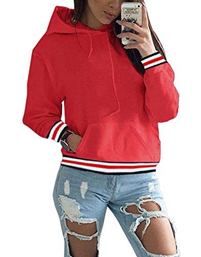 ShallGood Mujeres Otoño Sudaderas con Capucha Camisetas Manga Larga Varsity Encapuchado Camisa de Entrenamiento Blusa Tops Rojo ES 44