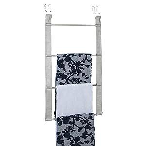 mDesign Toallero sin Taladro – Práctico toallero de Puerta de Gran Capacidad con 4 Barras para Toallas y Ropa…
