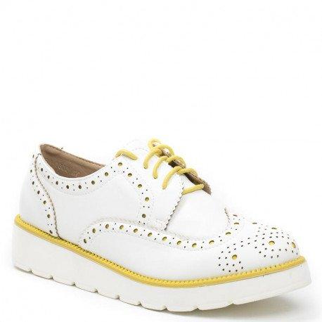 Ideal Shoes - Derbies bicolores Acina Jaune