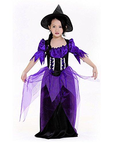 Halloween Lustige Familie 2017 Kostüme (Beunique® Lila Hexe Halloween Karneval Kleid Lila Netz Garn Kleid Hexe Party Kleider und)
