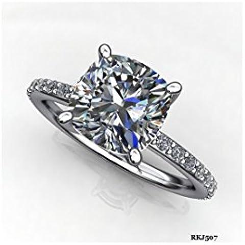 Solitario Halo 3carati Cuscino Taglio Rotondo Diamante 14K oro bianco massiccio Love anniversario matrimonio fidanzamento anello donna, tutte le dimensioni disponibili