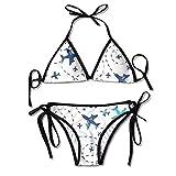 Fashion Fun Airplanes On White Sky Women Swimwear Bandage Bikini Set Push-up Padded Bra Swimsuit