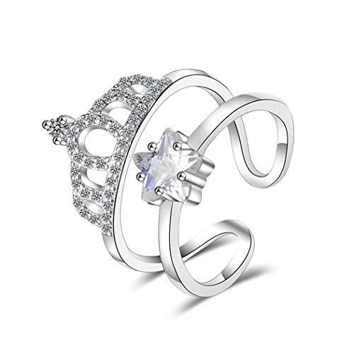 Wunhope Ring Silber 925 Damen Mädchen Partnerring mit Zirkonia Krone Sterne Glitzer ,Öffnen Dopple Layer Bandringe Ehe-, VerlobungsRing für Frauen Mädchen