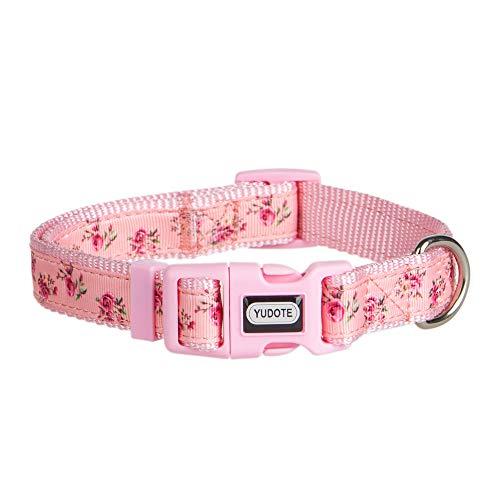 YUDOTE Hundehalsband, aus der Frühlingsblumen-Serie, verstellbares Nylon-Halsband für weibliche und männliche Hunde, modisches und süßes Designer-Welpen-Halsband, Small(Neck 10