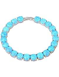Silver Blue Fire Opal pulseras & pulseras para Teen Girls Pulseiras Femininas 19,5cm 7,67(B467