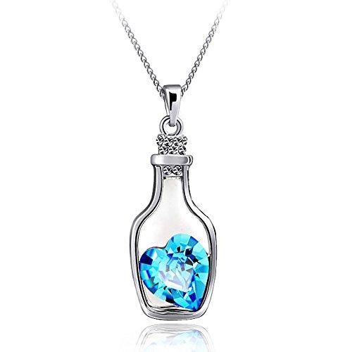 Sorella'Z Blue Crystal Love Drift Bottle Pendant Necklace For Women