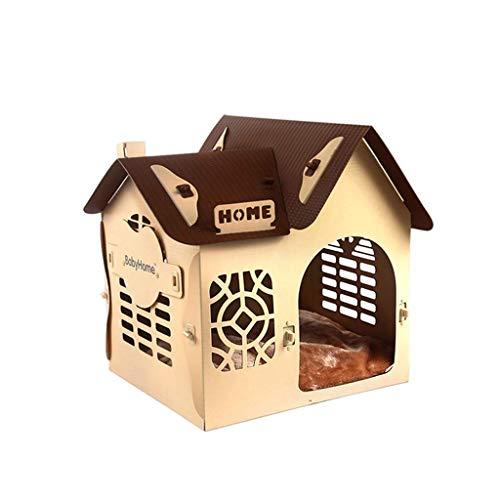 JAG Zwinger Kunststoff Hund Katze Wurf Haus Villa Vier Jahreszeiten Universal waschbar Pet Nest Medium Small Dog House (Farbe: braun) -