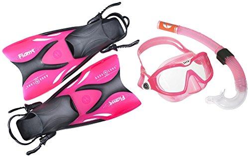 Schwimmflossen Schnorchel Set für Kinder Aqualung - bestehend aus Flossen Schnorchel Tauchmaske (Exclusiv pink transparent, 27-32)
