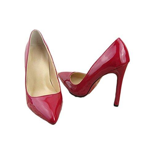 Printemps et été Europe et États-Unis poinçonnent les talons hauts Chaussures fines de 115 cm avec des chaussures peu profondes red
