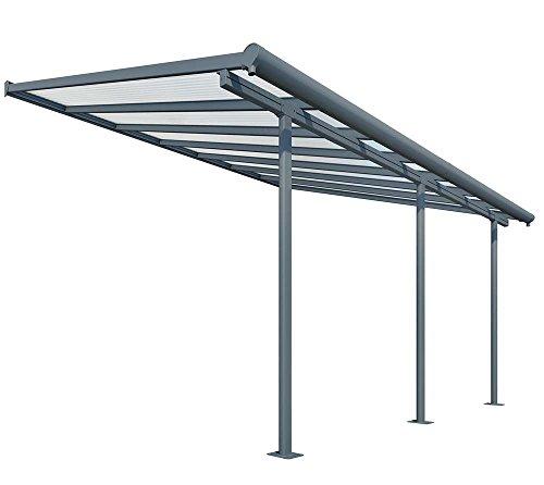 Hochwertige Aluminium Terrassenüberdachung, Terrassendach Sierra 299x555 cm (TxB) - grau inkl. Befestigung und Regenrinne