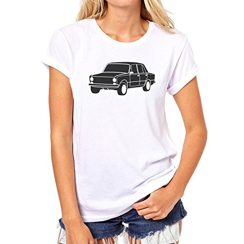 Car Vehicle Four Wheels Auto Lada Old Black Damen T-Shirt Weiß