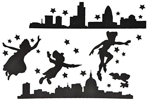 27 tlg. Set: XXL Wandtattoo / Sticker - Peter Pan Feen Märchen Nacht Stadt schwarz Kinder - Wandsticker (Peter Pan Dekorationen)