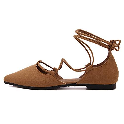 FLYRCX Primavera e autunno bendaggio di prua appuntita bocca poco profonda ladies scarpe scarpe di partito c