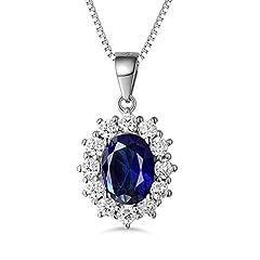 Idea Regalo - Masop, collana replica Principessa Kate Middleton e Principessa Diana, con ciondolo blu zaffiro, in argento Sterling 925, lunghezza 45,7 cm, regalo per San Valentino