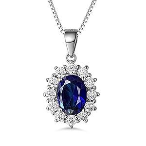 MASOP Damen Ohrringe Halskette Schmuckset 925 Sterling Silber Saphir Ohrhänger Anhänger Blau Oval und Weiß Rund Zirkonia CZ Prinzessin Diana Luxus Schmuck