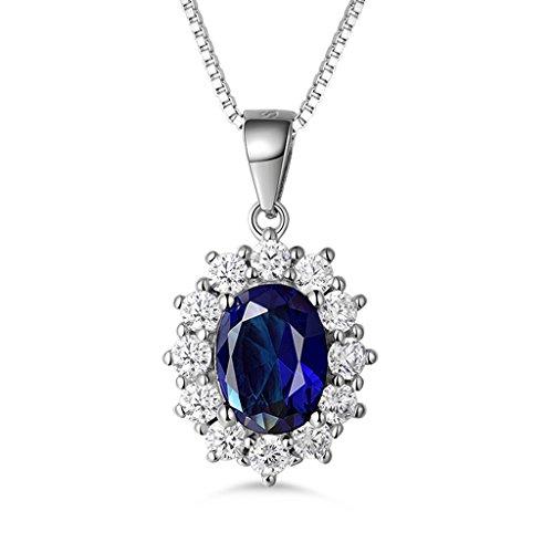 MASOP Damen Halskette mit Anhänger 925 Sterling Silber Saphir Blau Oval und Weiß Rund Zirkonia CZ Prinzessin Diana Luxus Schmuck