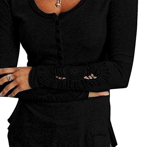 Bliefescher Damen Langarmshirt Strickpulli Spitze Sweatshirt Rundhals Longsleeve T Shirt Slim Fit Bluse(Schwarz, 6XL/EU 48)