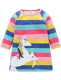 Kobay Baby Mädchen Langarm Karikatur Gestreift Pony Tier Drucken Beiläufig Kleider