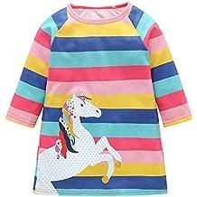 ASHOP Vestidos niña/ Vestidos Rayas Estampados Unicornio/Falda Tutu/en Oferta/ 1