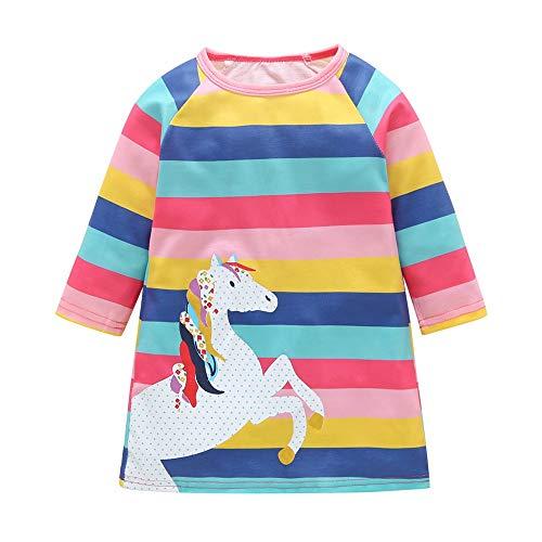 (Lenfesh Baby Mädchen Kleid Rock Weihnachten Kleinkinder Pferd Tier Cartoon Print Striped Casual Kleider Prinzessin Kleid)