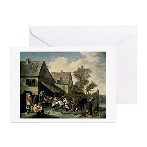 "CafePress Grußkarte, Motiv""A Country Dance"" (Öl auf Leinwand, englischsprachig) Note Card"