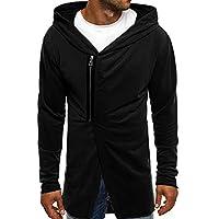 Delicacydex Winter Men's Hooded Coat Casual Male Coat Cardigan Fashion Slanted Zipper Long Sleeve Letter Printing Cardigan - Black M