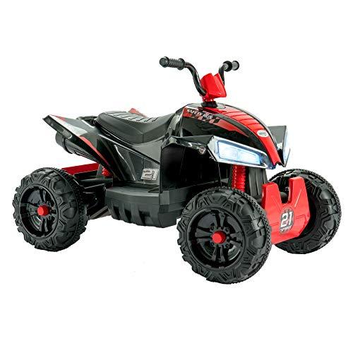 UEnjoy Kinderauto ATV Elektro 12V ATV für Kinder Fahrt auf Auto w / 2 Geschwindigkeit, Federung, LED-Leuchten, Eingebautes Horn, Getretene Reifen, Motortöne für Kinder, Rot