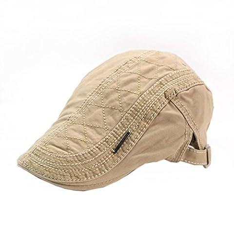 BéRet Casquette,OverDose Printemps LéGèRe Coton Vintage RéTro Hat Flat Cap (Kaki)