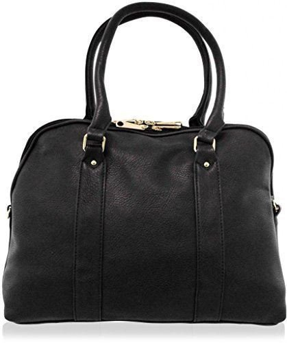 KUKUBIRD OFFICE PLAIN FAUX LEATHER DESIGNER LARGE BOWLING/TOTE HANDBAG BLACK